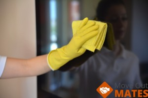 a cleaner, cleaning a window